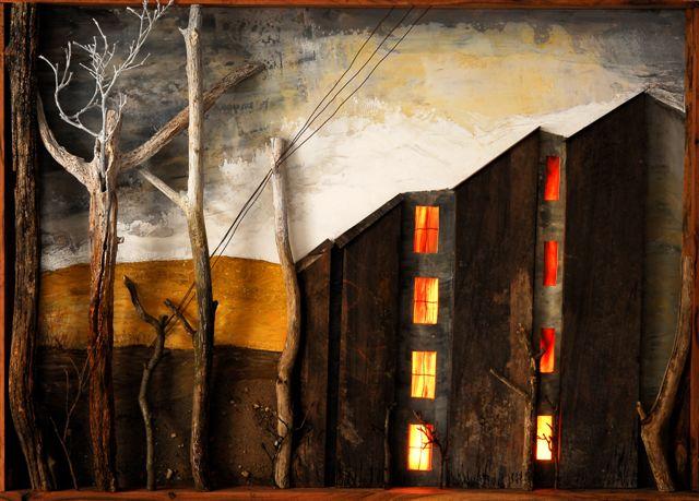 Backlit wood-painting I